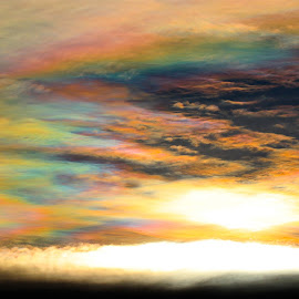 Iridescent Clouds by Paul Marto - Landscapes Cloud Formations ( colorful sky, colorful clouds, beautiful clouds, rainbow clouds, beautiful sky, iridescent clouds )