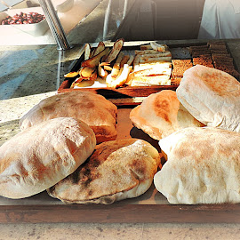 Fresh-baked Pita Breat by Tamsin Carlisle - Food & Drink Cooking & Baking ( fresh, bread, pita, hotel, restaurant, baked, middle east )