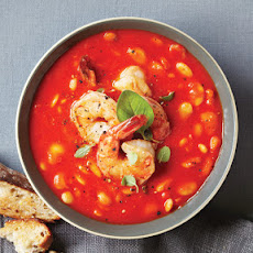 Roasted Red Pepper Soup with Shrimp