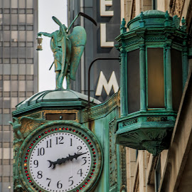 Chicago Clock by Dustin Bristol - Buildings & Architecture Architectural Detail ( clock, chicago )