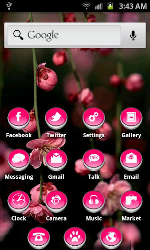 ADW Theme Cute Button HD Pink