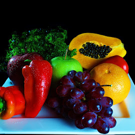 For Good Health by Leo Angelo Ignacio - Food & Drink Fruits & Vegetables ( orange, red apple, papaya, grapes, bell peppers, green apple, parsley,  )