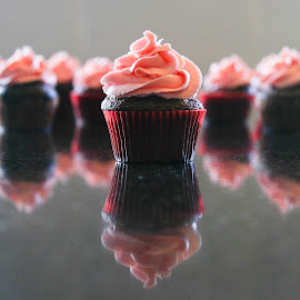 Cupcakes by Kaye Collins - Food & Drink Candy & Dessert ( reflection, chocolate, cupcake, frosting, pink )