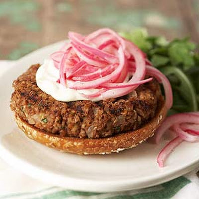 Cracked Wheat Burgers with Pickled Onions and Lime Slather