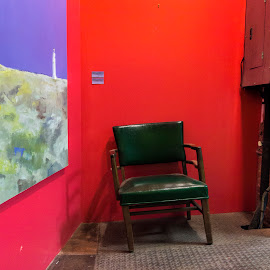 Red wall with Chair by David Stone - Buildings & Architecture Other Interior ( interior, chair, red, gallery, colors, square, wall )
