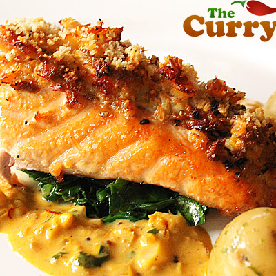 Crab Crust Salmon Served With A Coconut And Saffron Sauce