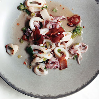 Spicy Calamari with Bacon and Scallions