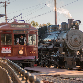 Los Angeles Red Car and #2 Steam Engine by Alan Gonick - Transportation Trains ( trolley, orange empire museum, trains, red car, steam )
