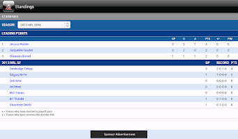 Screenshot of National Ringette League