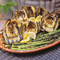 Grilled Artichokes and Asparagus
