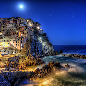 Manarola by Cristian Peša - City,  Street & Park  Night ( , colorful, mood factory, vibrant, happiness, January, moods, emotions, inspiration, city at night, street at night, park at night, nightlife, night life, nighttime in the city )
