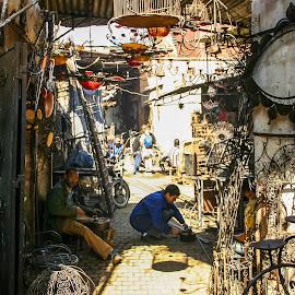 Morocco souk by Steve Griffiths - City,  Street & Park  Street Scenes ( work, market, metal, souk, morocco )