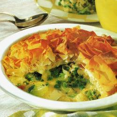 Leek And Spring Green Filo Pie