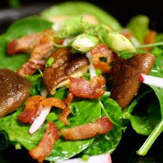 Pea Shoot and Spinach Salad with Bacon and Shiitake