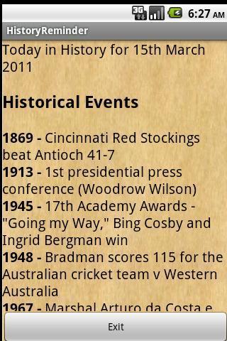 History Reminder