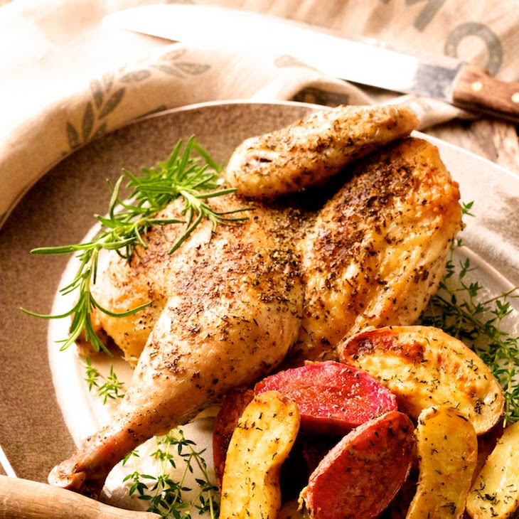 ... and Garlic-Roasted Chicken and Dijon - Rosemary Roasted Fingerlings