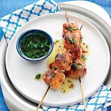 Pancetta Salmon Kebabs with Parsley Vinaigrette
