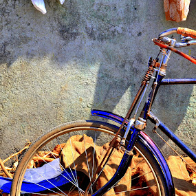 bicycle thevies by Neha Neekhra - Transportation Bicycles ( handle, wheel, cloth, blue, bicycly )