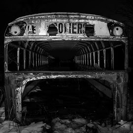 Abandoned bus by Pierre Tessier - Transportation Other ( light painting, black and white, diagonal, school bus, abandoned,  )