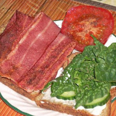 Turkey Bacon, Cucumber, Spinach and Tomato Sandwich