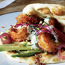Fried Shrimp Flatbreads with Spicy Cardamom Sauce
