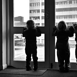 Watching by Melanie Pista - Babies & Children Children Candids ( black and white, watching, silhouette, boys, three )