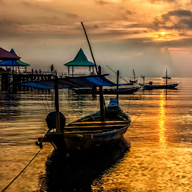 Sunrise boat by Agus Sudharnoko - Transportation Boats