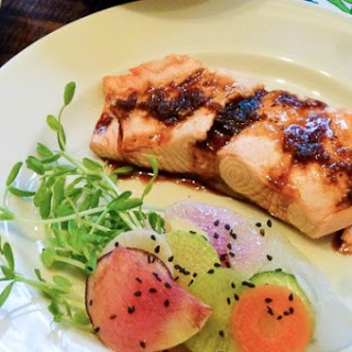 Miso Poached Salmon with Ginger-Sesame Soy Sauce