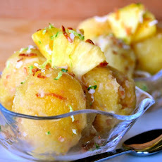 Pineapple-Agave Sorbet with Toasted Coconut