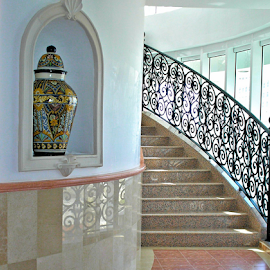 Hotel Stairs by Becky McGuire - Buildings & Architecture Architectural Detail ( cancun, mcguire, iron tvlgoddess, stairs, mexico, architecture, steps, wrought, becky,  )