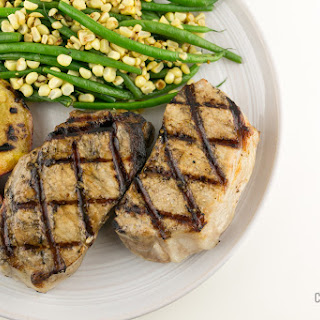 Grilled Pork Chops with Green Beans and Corn