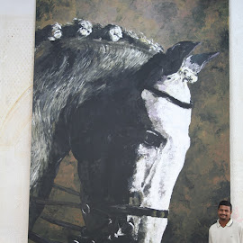 its me and my painting by Faizal Poonthala - Painting All Painting