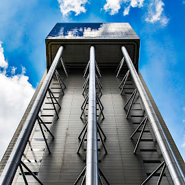 Steel and glass by Leon Chester - Buildings & Architecture Other Exteriors ( clouds, structure, building, reflections, architectural detail, shy, architecture )