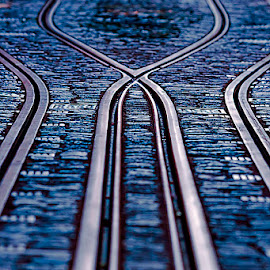 X by Jim Cunningham - Transportation Railway Tracks ( detail, street, tram, tracks, city )