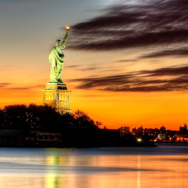 Liberty by Gary Aidekman - Buildings & Architecture Statues & Monuments ( statue of liberty, statue, new york, sunrise, new jersey, hudson river,  )