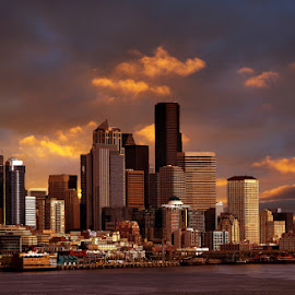 Sunset on Seattle by Gaylord Mink - City,  Street & Park  Skylines ( skyline, harbor, seattle, sunset, buildings,  )