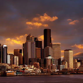 Sunset on Seattle by Gaylord Mink - City,  Street & Park  Skylines ( skyline, harbor, seattle, sunset, buildings,  )