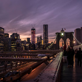 NY from Brooklyn Bridge by Massimo Izzo - City,  Street & Park  Vistas ( brooklyn bridge, skyline, nyc, ny, usa, brooklyn )