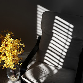 The Resting Chair by Marty Cutler - Artistic Objects Furniture ( chair, black and white, abstract lines, solitude, shadows )