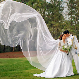 Noel & Renée by JD Pascual - Wedding Bride & Groom ( love, kiss, post-nup, wedding, floating veil )