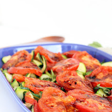 Grilled Tomatoes and Basil Zucchini Noodles with Balsamic Glaze + Entertaining Giveaway