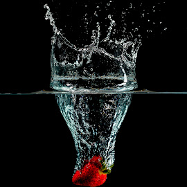 Splash Down by Jeff Rzepka - Abstract Water Drops & Splashes ( water, fruit, strawberry splash, splash, strobist, splash photography, freeze motion, drops, high speed, strawberry, flash photography )