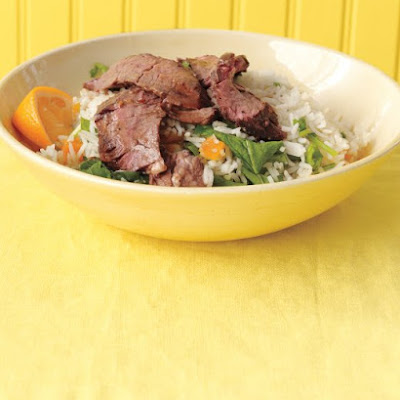 Marinated Skirt Steak with Apricot-Arugula Rice