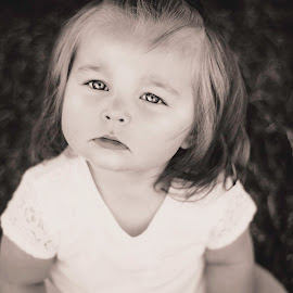 through her eyes by Calvin Mosley - Babies & Children Toddlers ( child, girl, bw, white, blur, baby, toddler, bokeh, young, black, portrait, and,  )