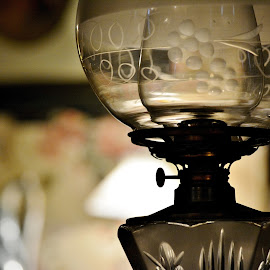 Unlit Lamp by Erin Czech - Artistic Objects Glass ( bronze, glass, lamp, etched, bedroom )