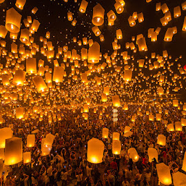 Yi Peng Fes. CNX Thailand by PanatFoto Acare - City,  Street & Park  Street Scenes