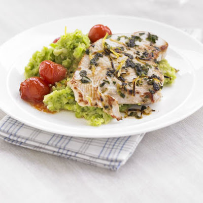 Italian Turkey Steaks With Garlicky Bean Mash
