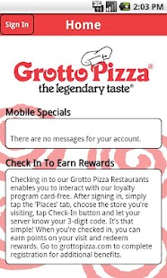 Grotto Pizza Rewards - screenshot
