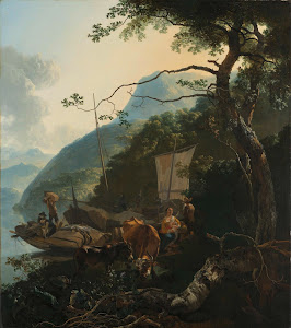 RIJKS: Adam Pijnacker: Boatmen Moored on the Shore of an Italian Lake 1670