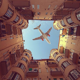 Perfect Timing by Devang Shrimali - Instagram & Mobile iPhone ( building, time, sky, plane, india, architecture, people, delhi,  )